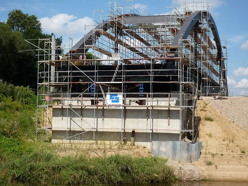 Supply of pile sheets, U-profiles in VL (Vitkowice Larssen), in this picture: railway construction site near Dessau