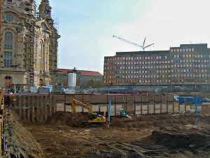 Träger-Bohlwand-Verbau Frauenkirche Dresden - Berliner Verbau - Essener Verbau  - Holzverbau incl. Vergurtung  - Baugrubensicherung